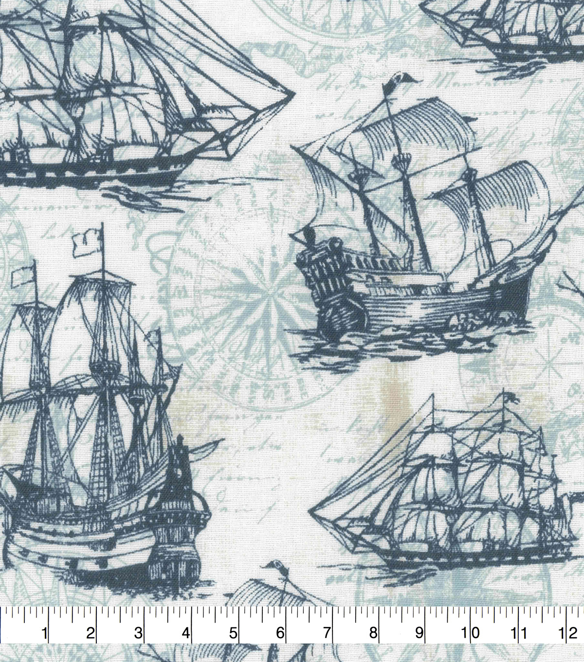 Novelty Cotton Fabric-Ships & Compasses