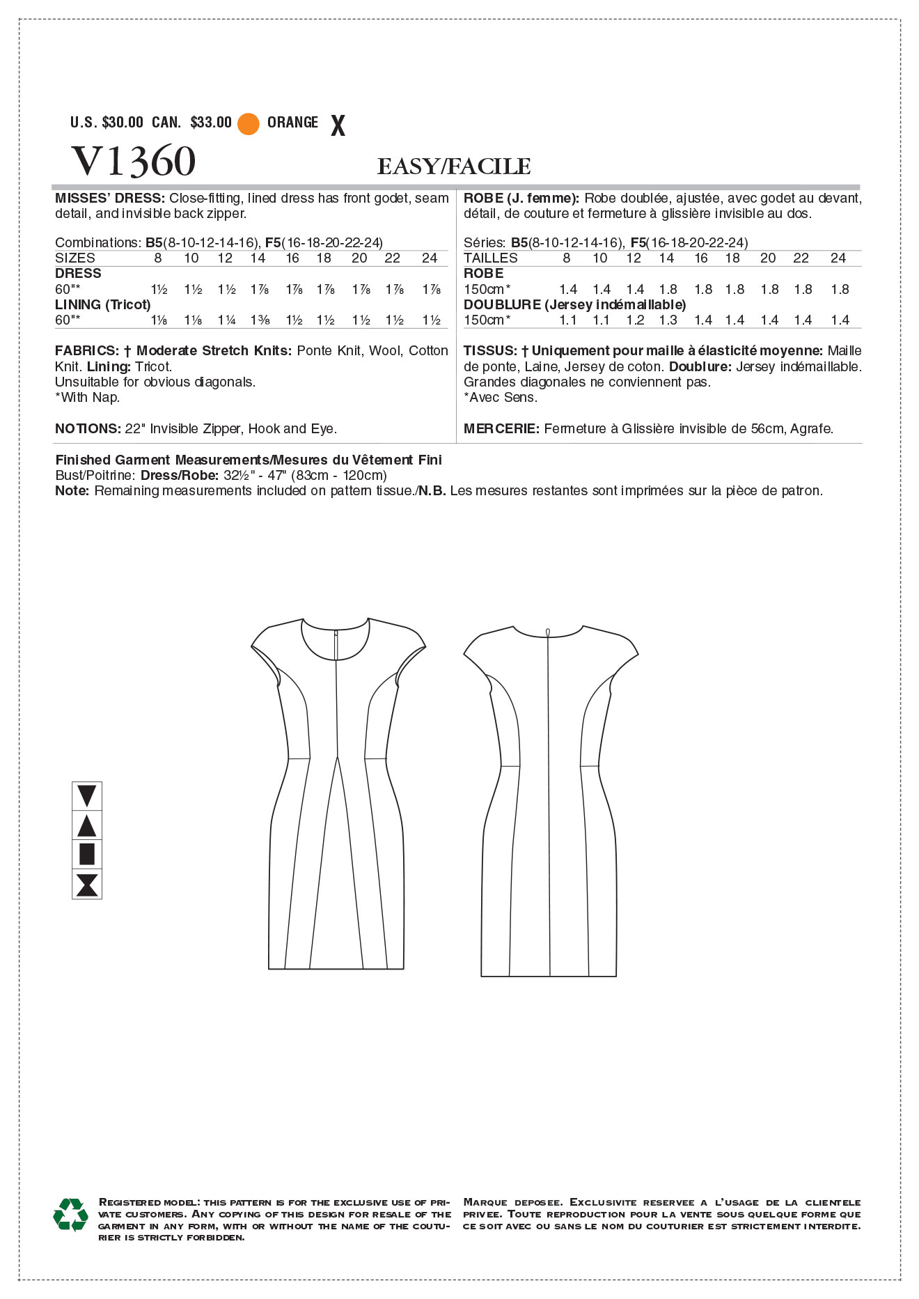 Vogue Patterns Misses Dress-V1360