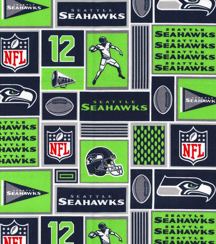 7357e42f1 Seattle Seahawks Cotton Fabric -Block   JOANN