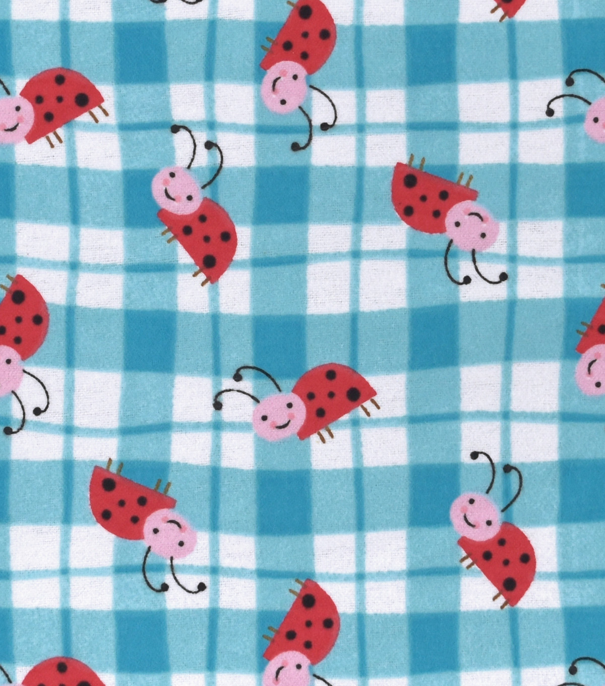 Snuggle Flannel Fabric 42\u0027\u0027-Ladybugs on Plaid