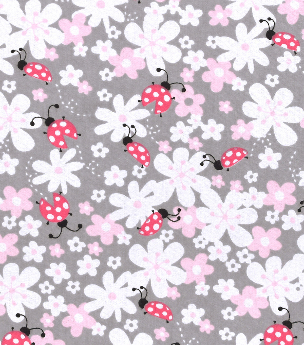 Nursery Flannel Fabric -Lady Bug Floral