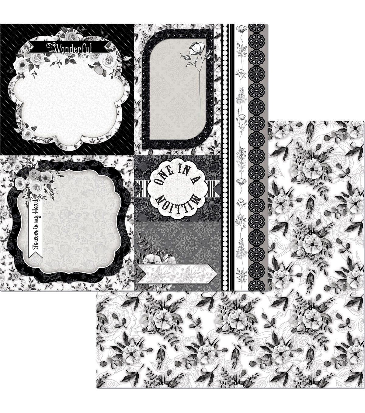 BoBunny Black Tie Affair 25 pk 12\u0027\u0027x12\u0027\u0027 Double-Sided Cardstock-Romance