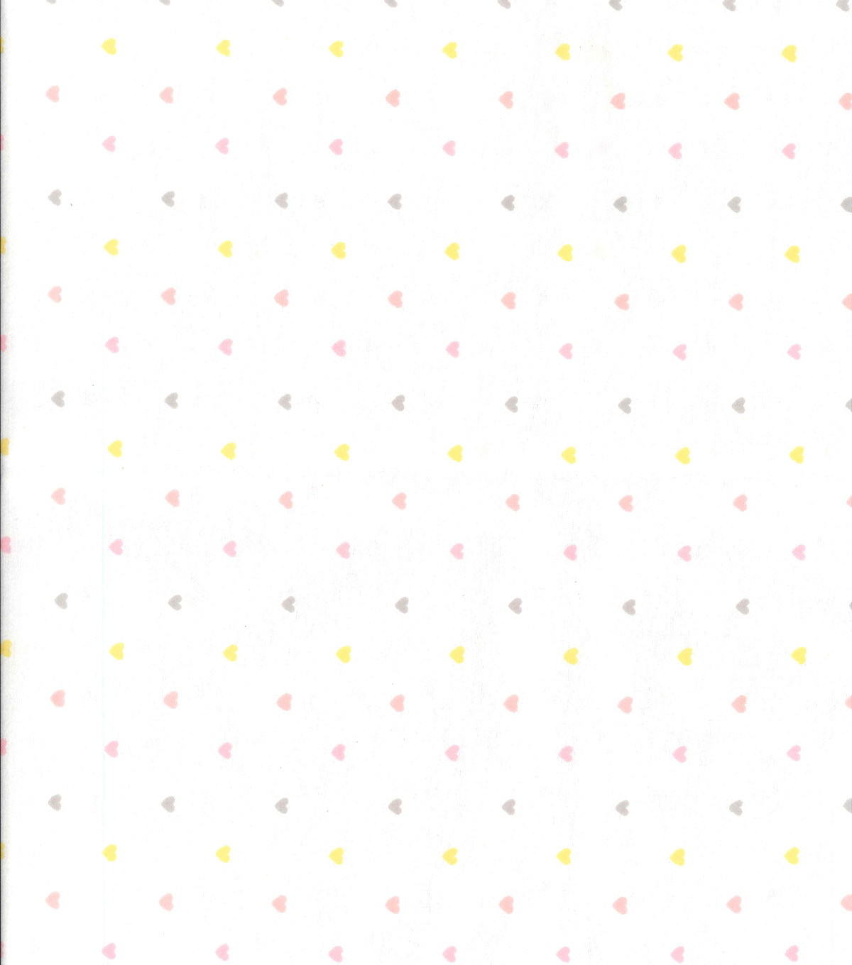 Nursery Flannel Fabric -Heart On White