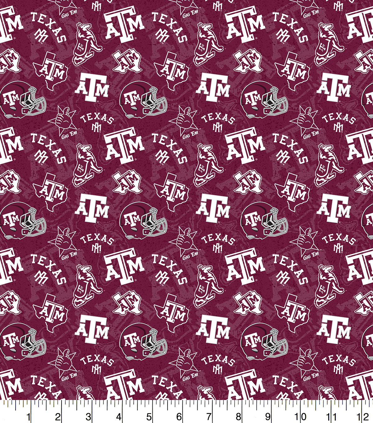 Texas A&M University Aggies Cotton Fabric-Tone on Tone