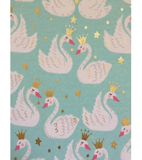 Doodles Juvenile Apparel Fabric 57\u0027\u0027-Swan Princess on Aqua