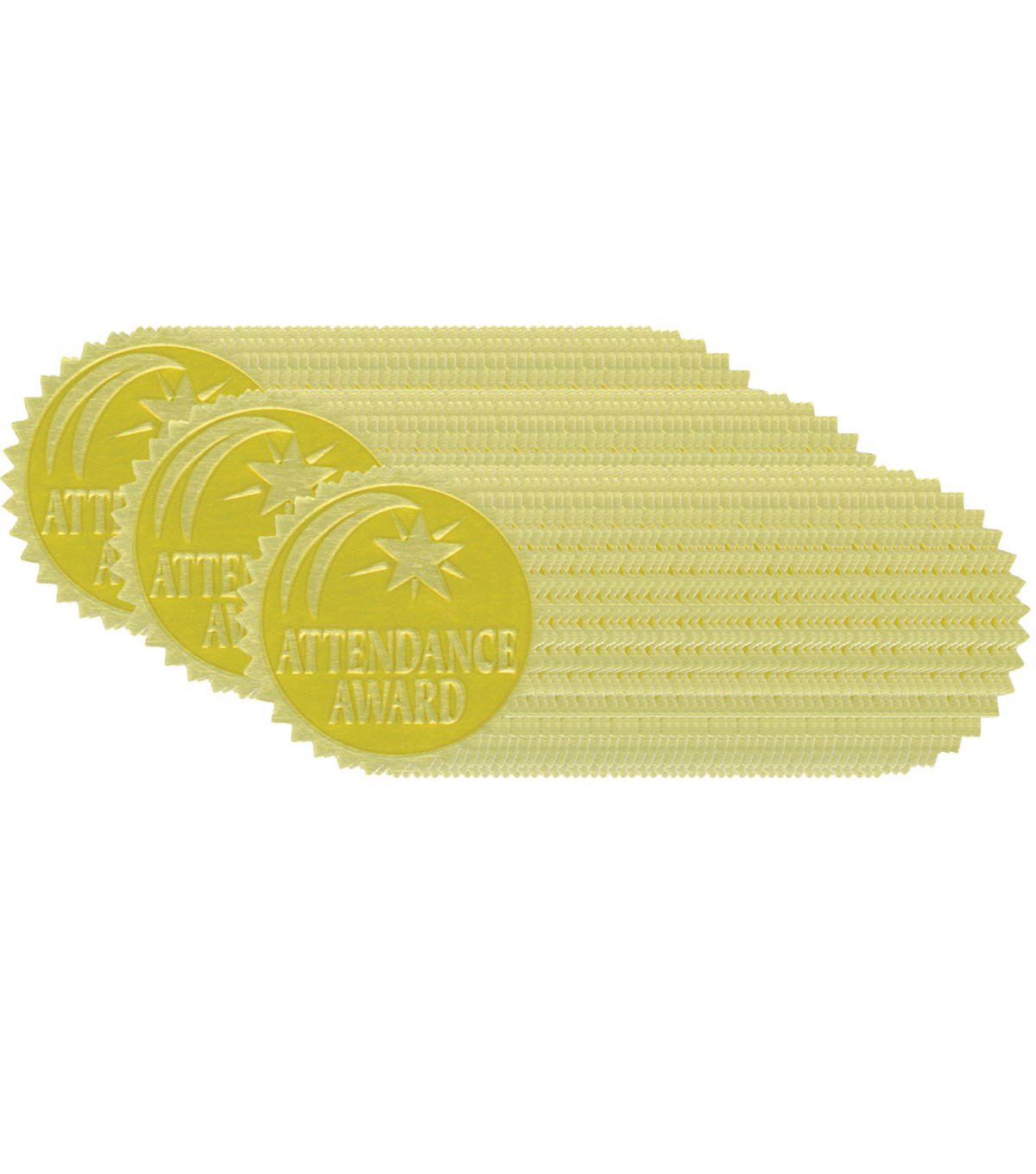 Hayes Gold Foil Embossed Seals, Attendance Award, 54 Per Pack, 3 Packs
