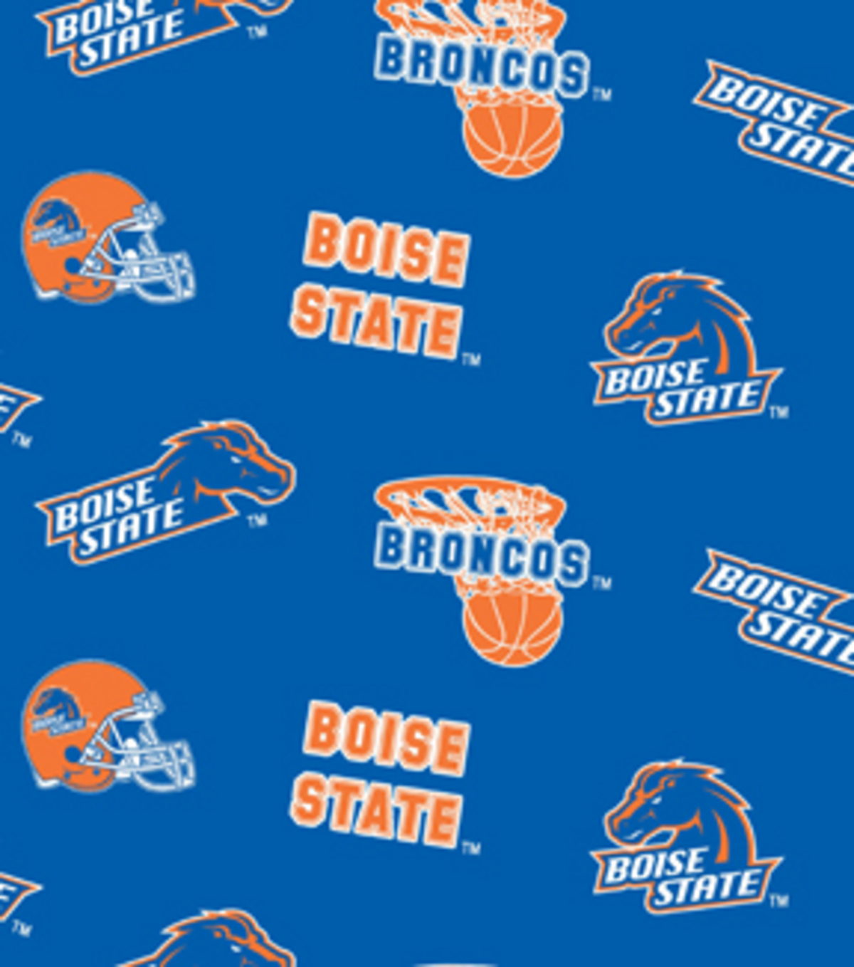 Boise State University Broncos Fleece Fabric 58\u0022-All Over