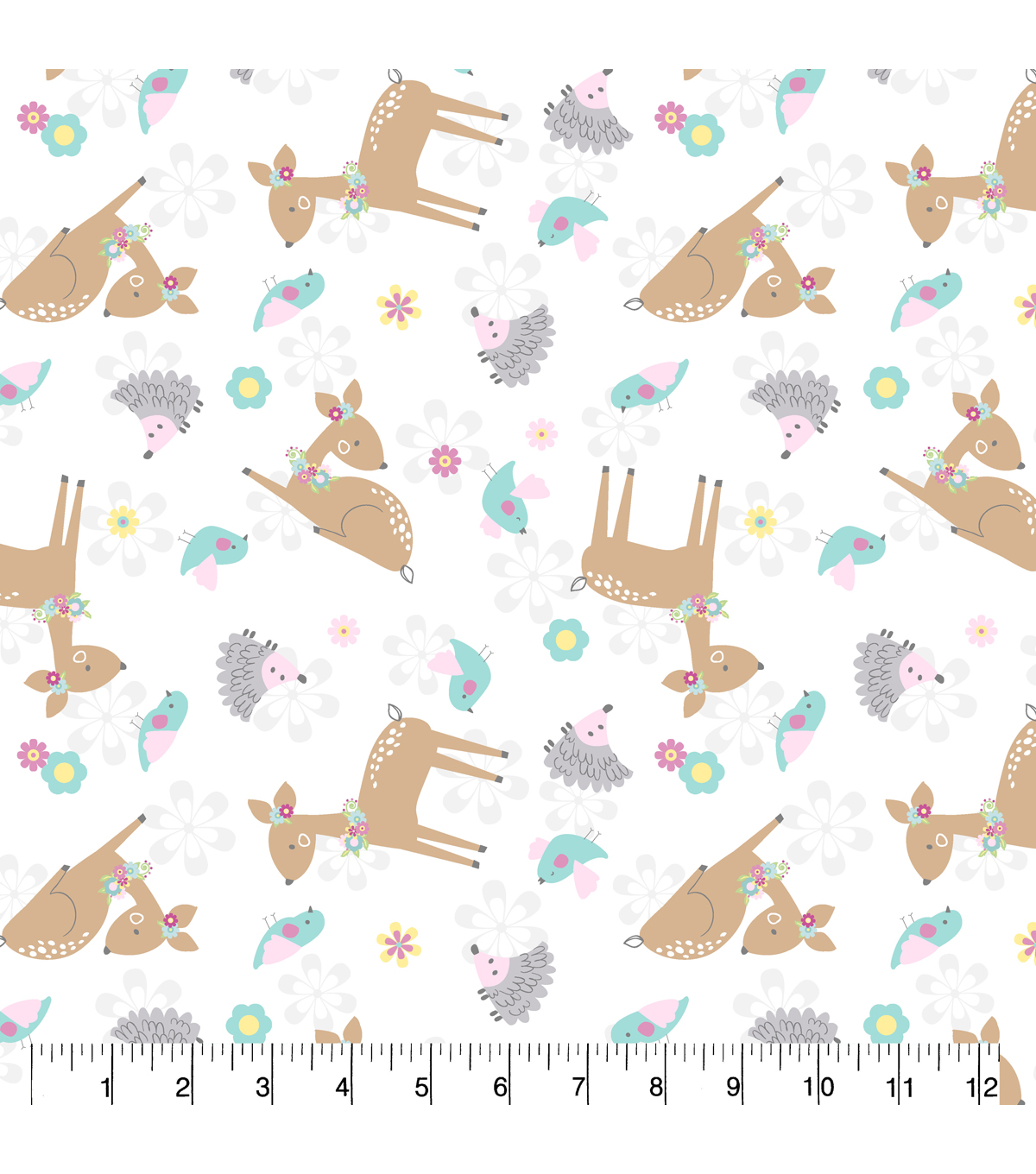 Nursery Flannel Fabric-Deer White Tossed