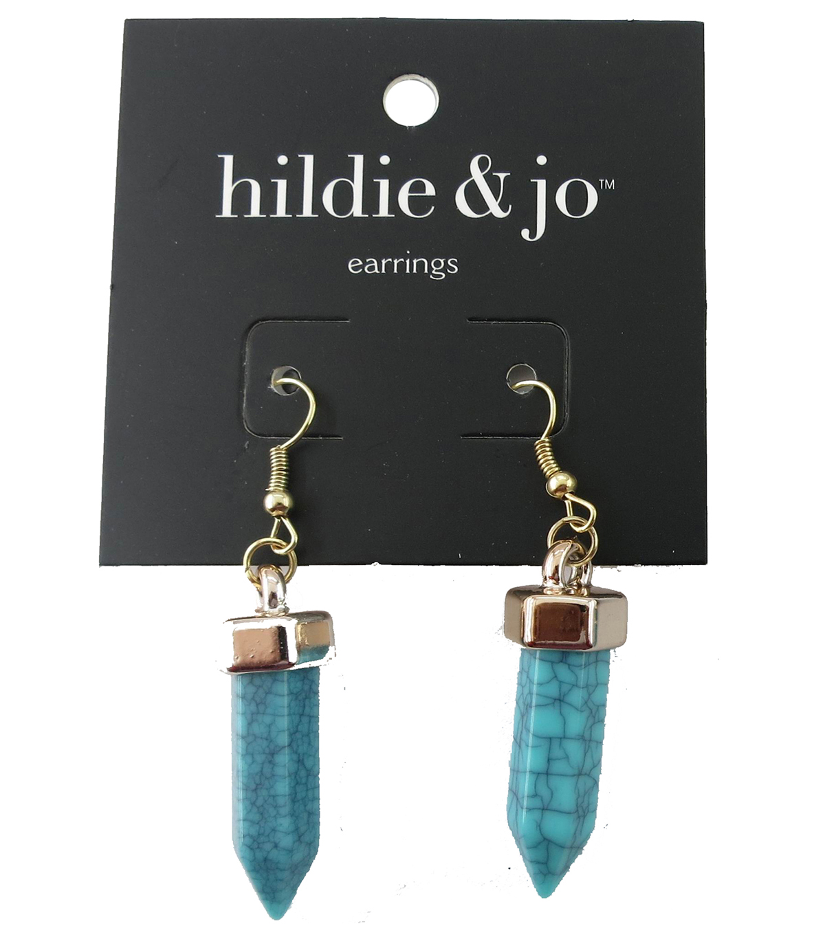 hildie & jo 1.38\u0027\u0027x0.38\u0027\u0027 Gold Spike Earrings-Turquoise Stone