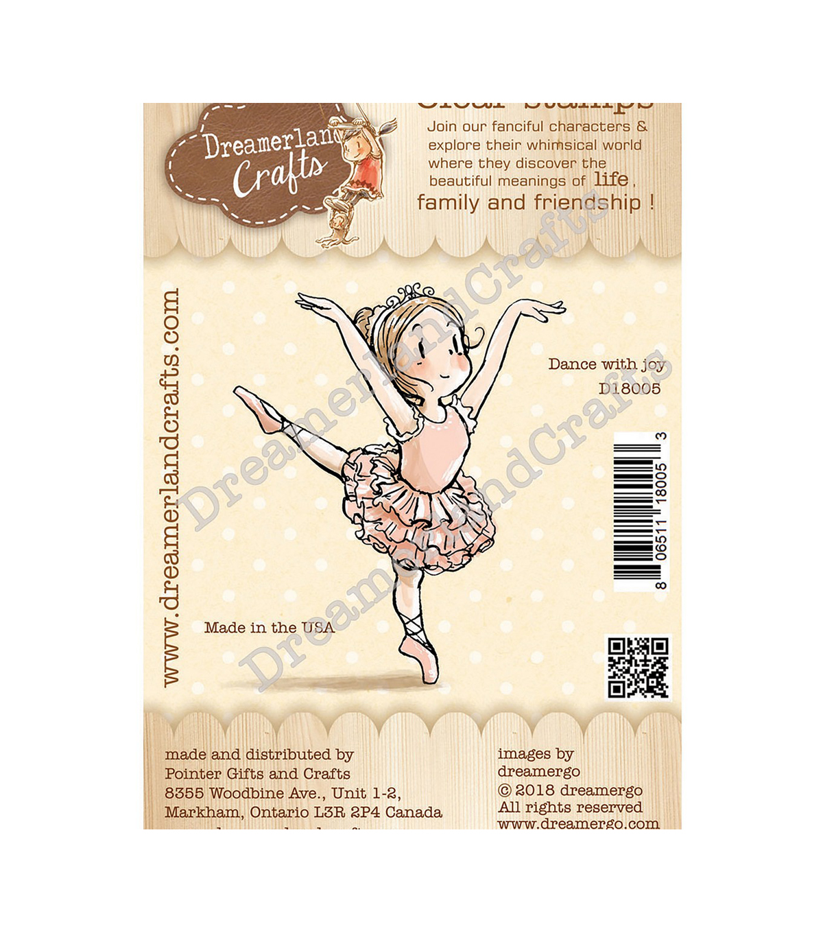 Dreamerland Crafts 2.75\u0027\u0027x2.75\u0027\u0027 Clear Stamp-Dance with Joy