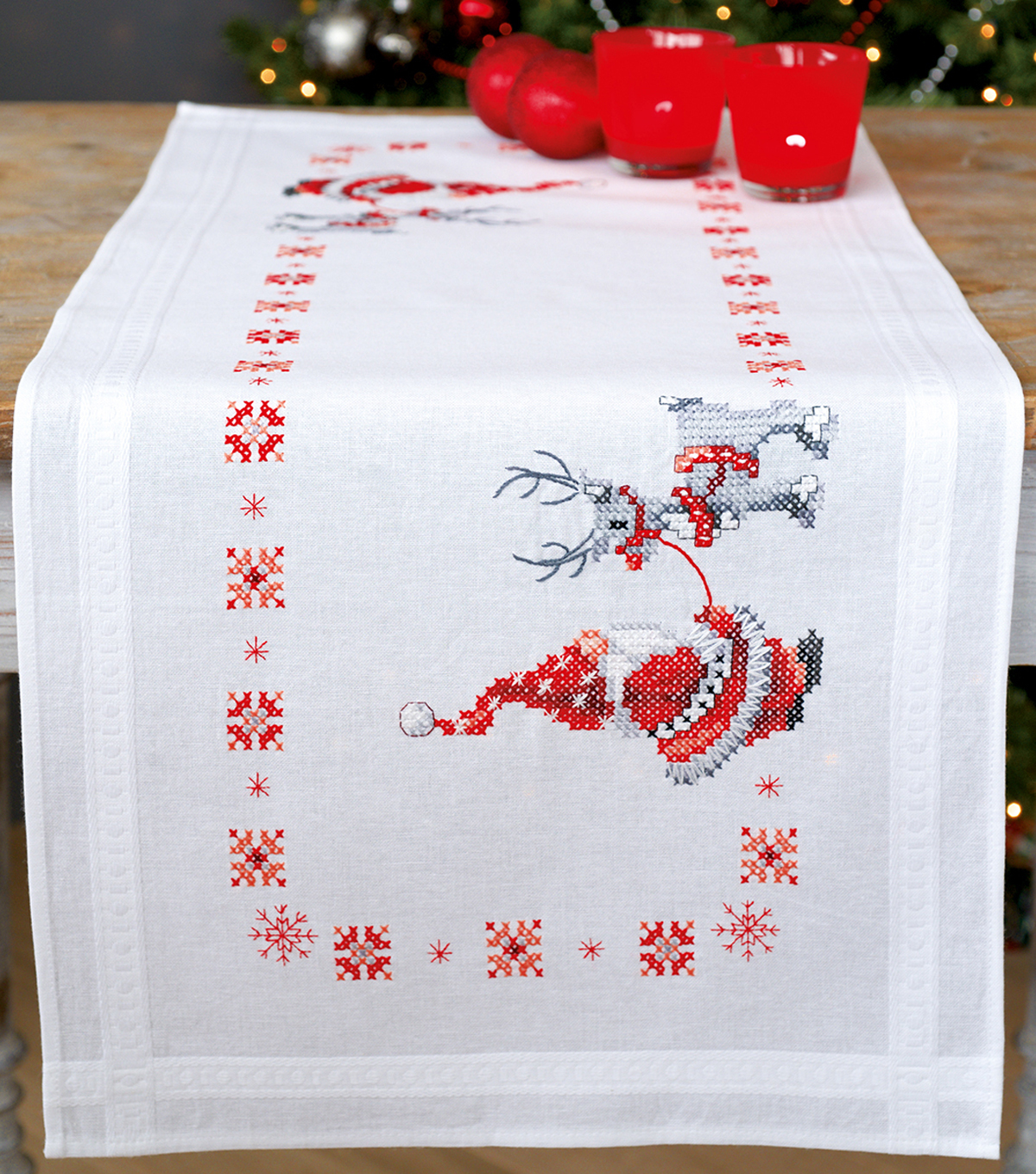 Christmas Elves Table Runner Stamped Cross Stitch Kit