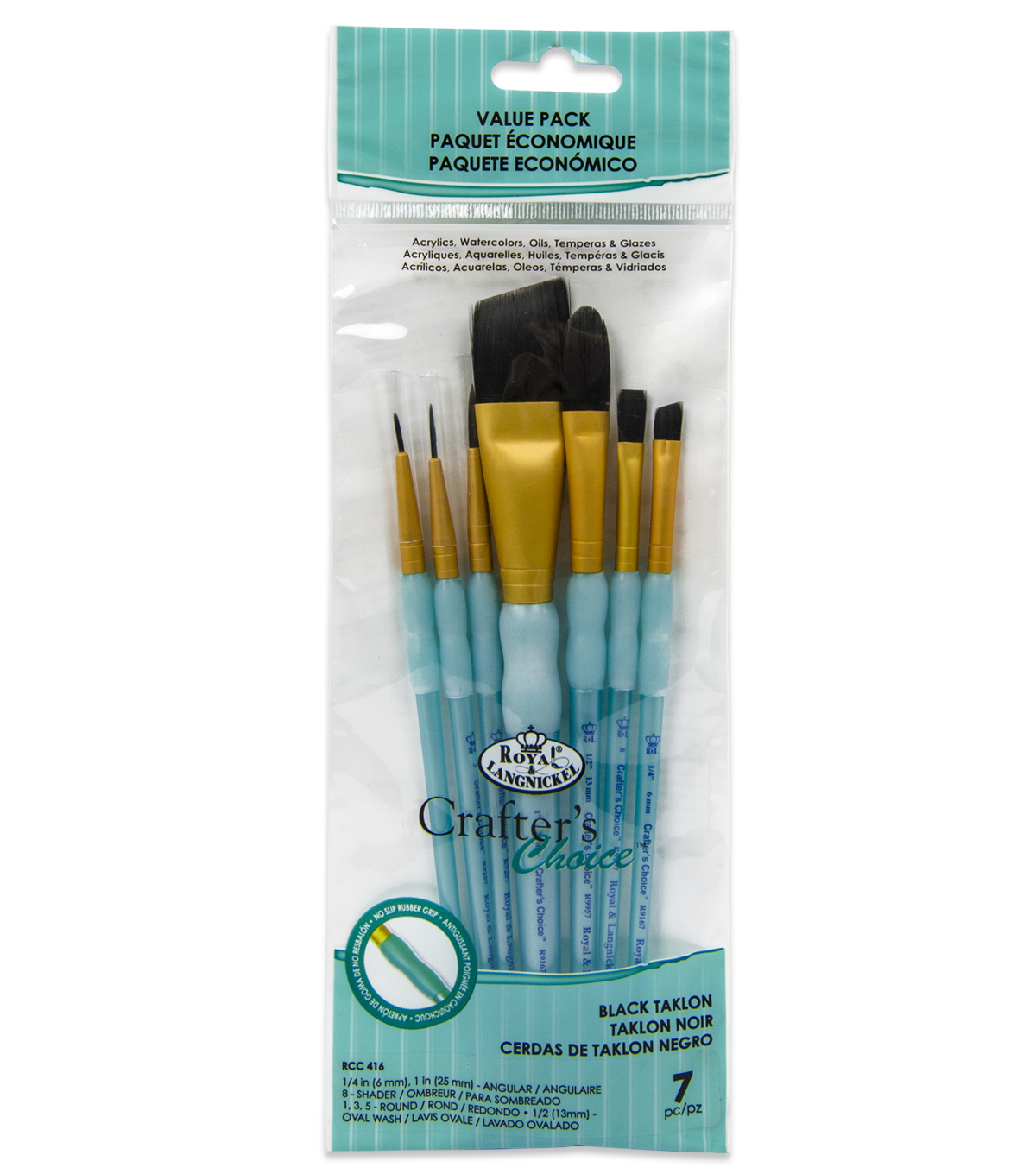 Royal & Langnickel Angular Variety Brush Set 7pk-Black Taklon