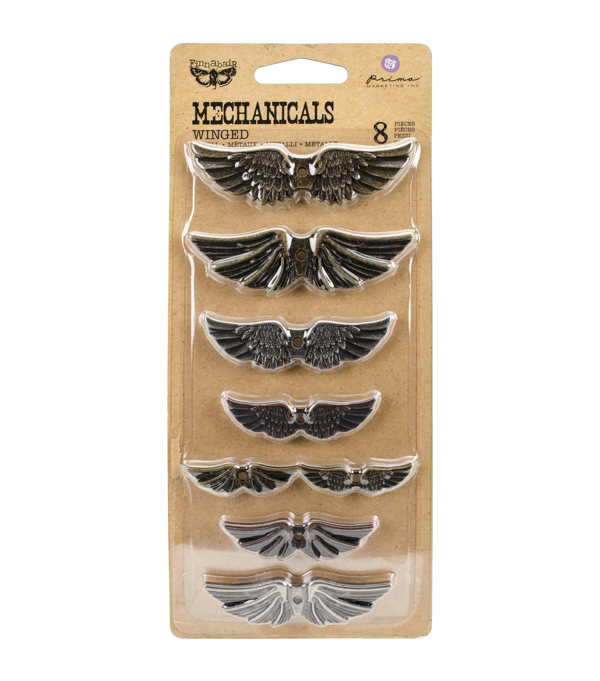 Prima Marketing Mechanicals Metal Embellishments-Winged 8/Pkg