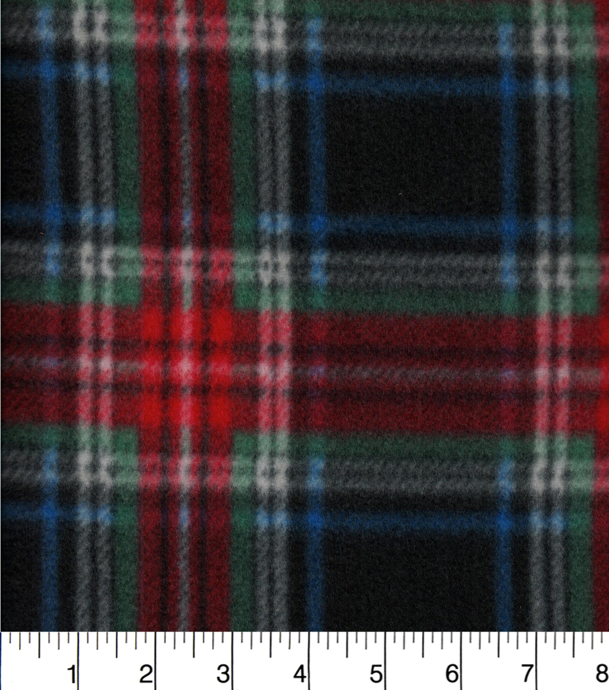 Blizzard Fleece Fabric -Red Green Navy Plaid