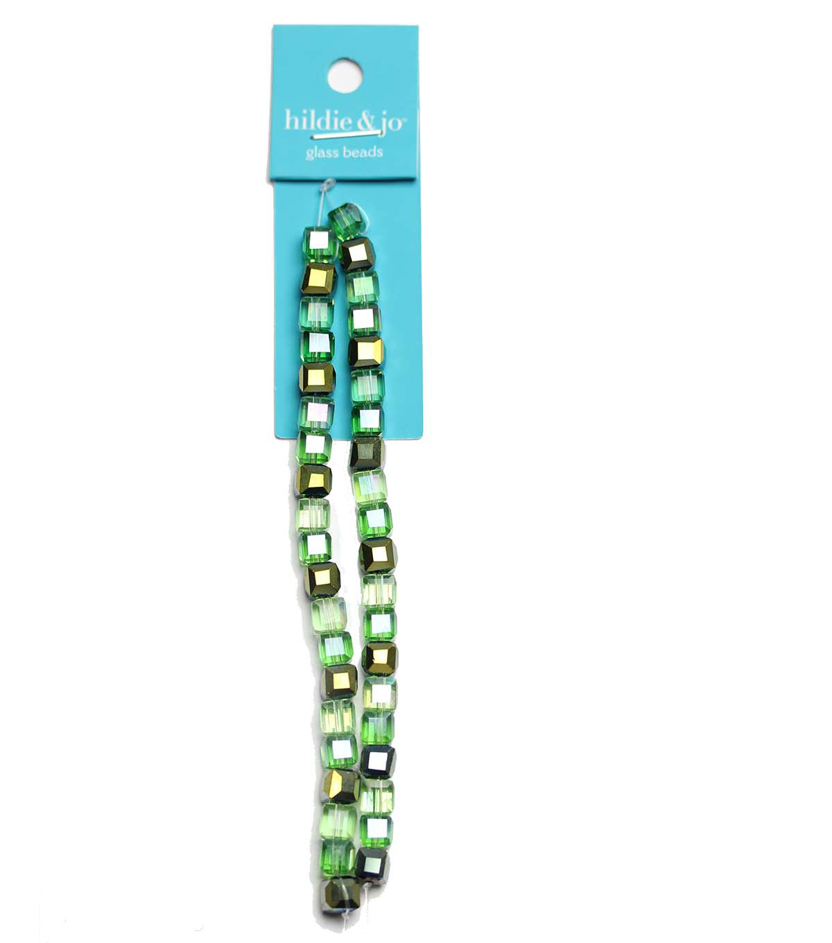 hildie & jo Strung Beads-Green Square Crystals