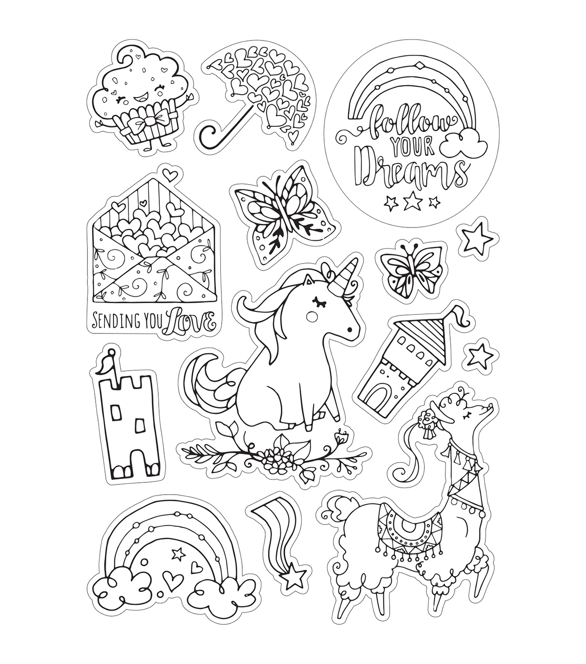Sizzix Katelyn Lizardi 2 Pack Coloring Stickers-Follow Your Dreams