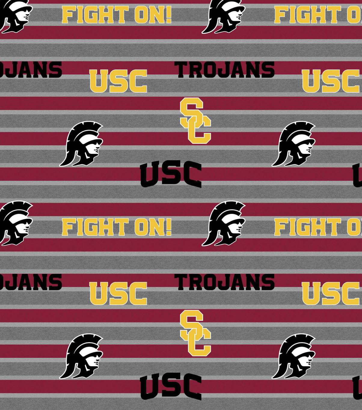 University of Southern California Trojans Fleece Fabric -Stripe