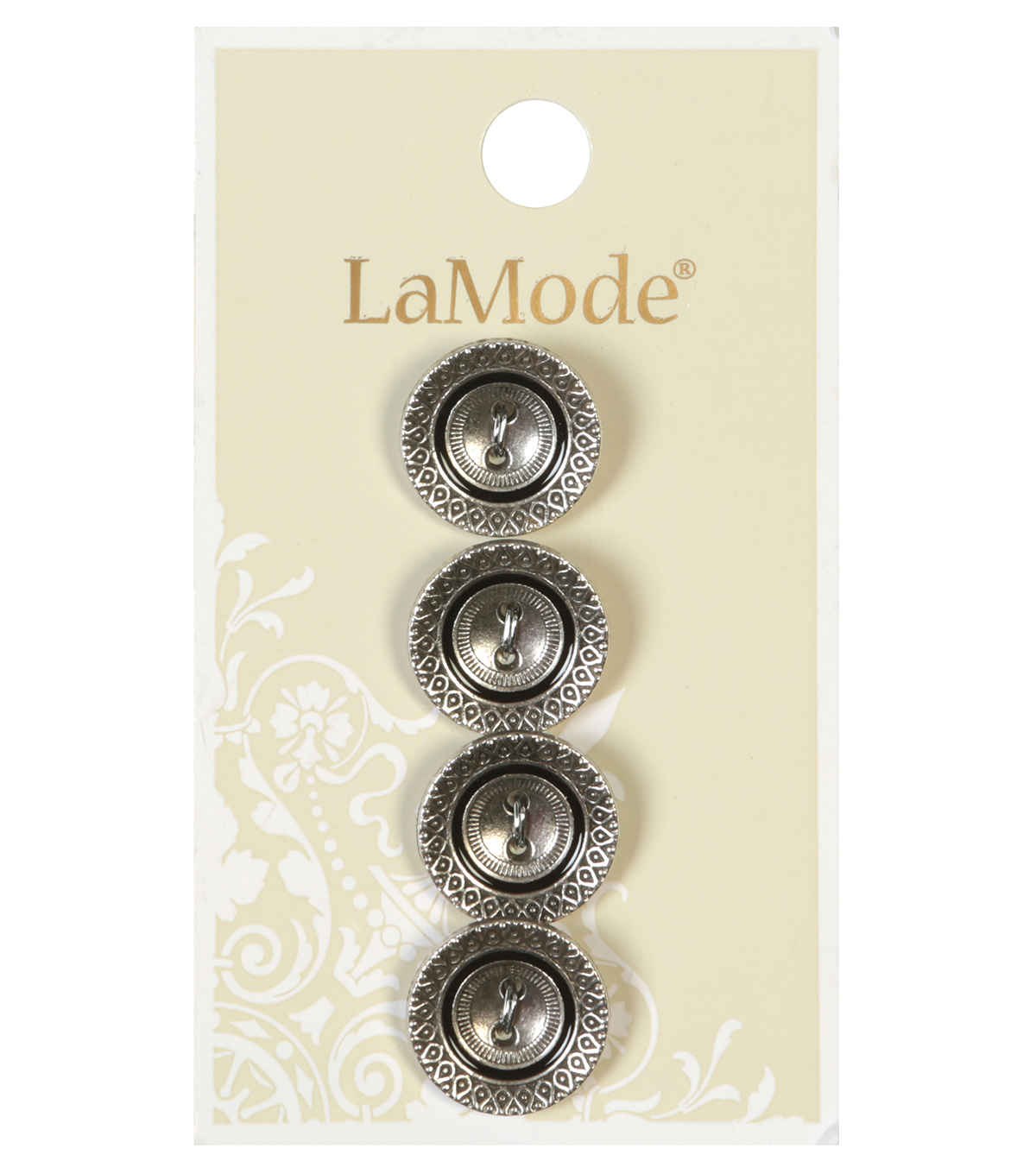 LaMode 2 Hole Antique Silver Cupped Button