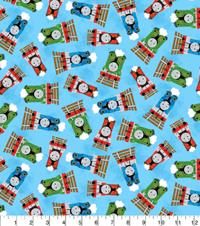 Thomas The Tank Engine Cotton Fabric 45\u0027\u0027-Friends Toss on Blue