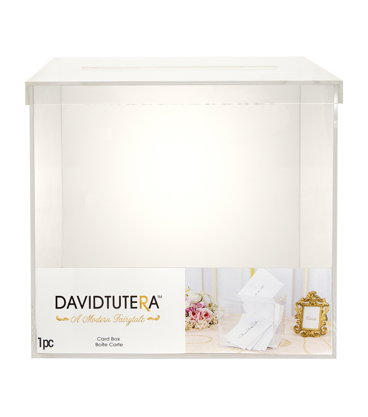 David Tutera Acrylic Card Box with Slit on Lid