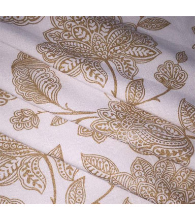Amaretto Linen Fabric 57\u0027\u0027-Gold Foil Folk Floral on White