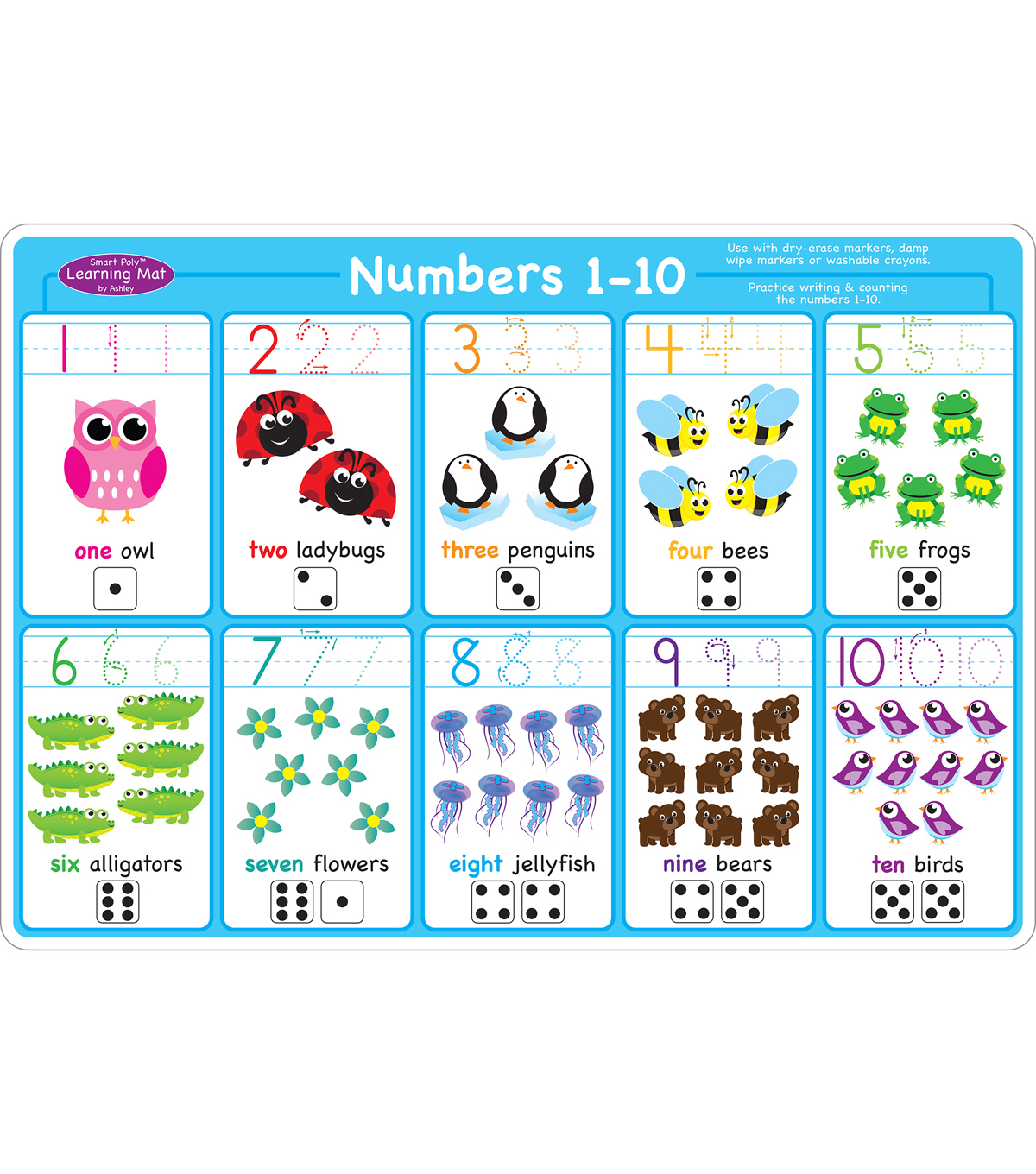 Smart Poly Learning Mats, Numbers 1-10, Pack of 10