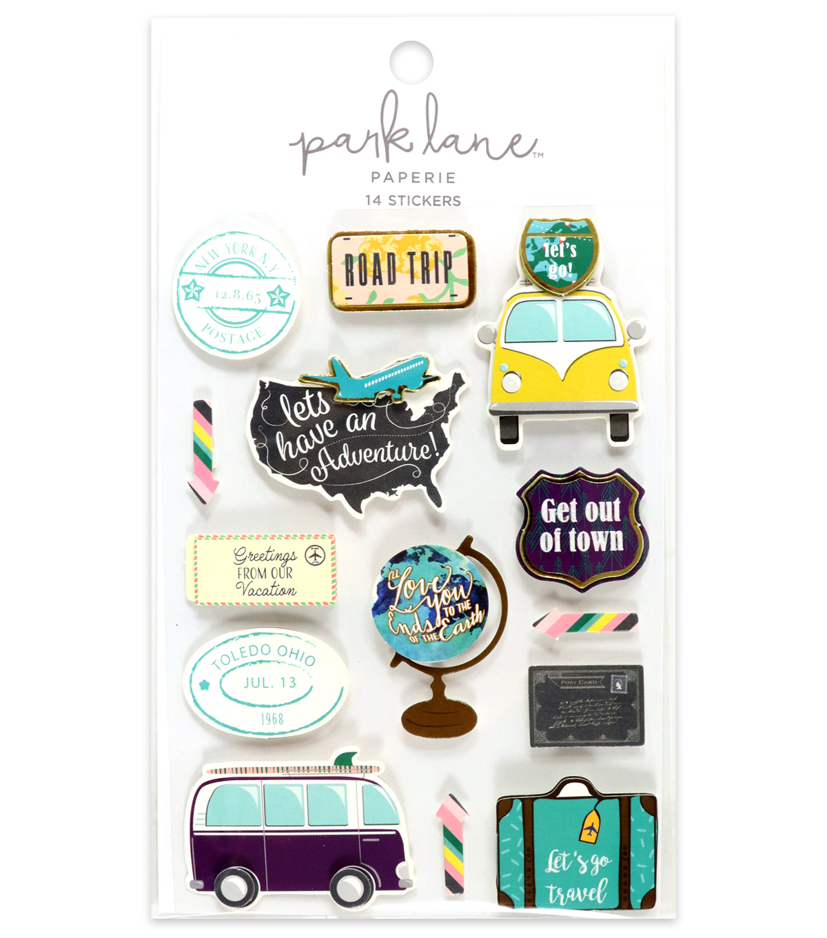 Park Lane 14 pk 3D Stickers-Road Trip