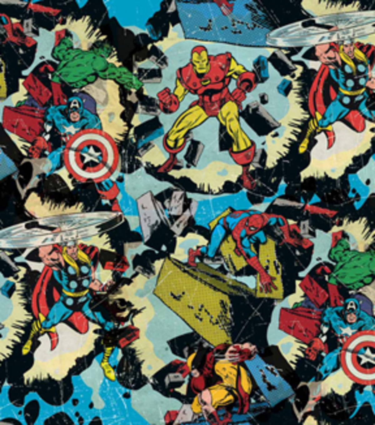 Marvel Comics Cotton Fabric -Retro Smashing