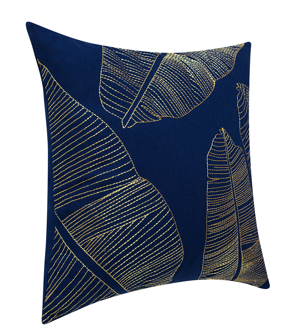 Hudson Finds 18\u0027\u0027x18\u0027\u0027 Pillow-Metallic Leaves on Indigo