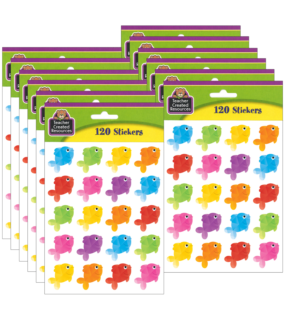 Teacher Created Resources Colorful Fish Stickers 12 Packs