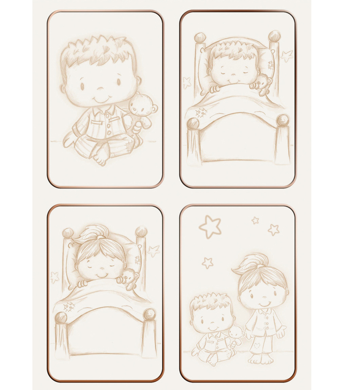 Kanban Patchwork Pals Die-Cut Punch-Out-Bedtime Sepia/Bronze