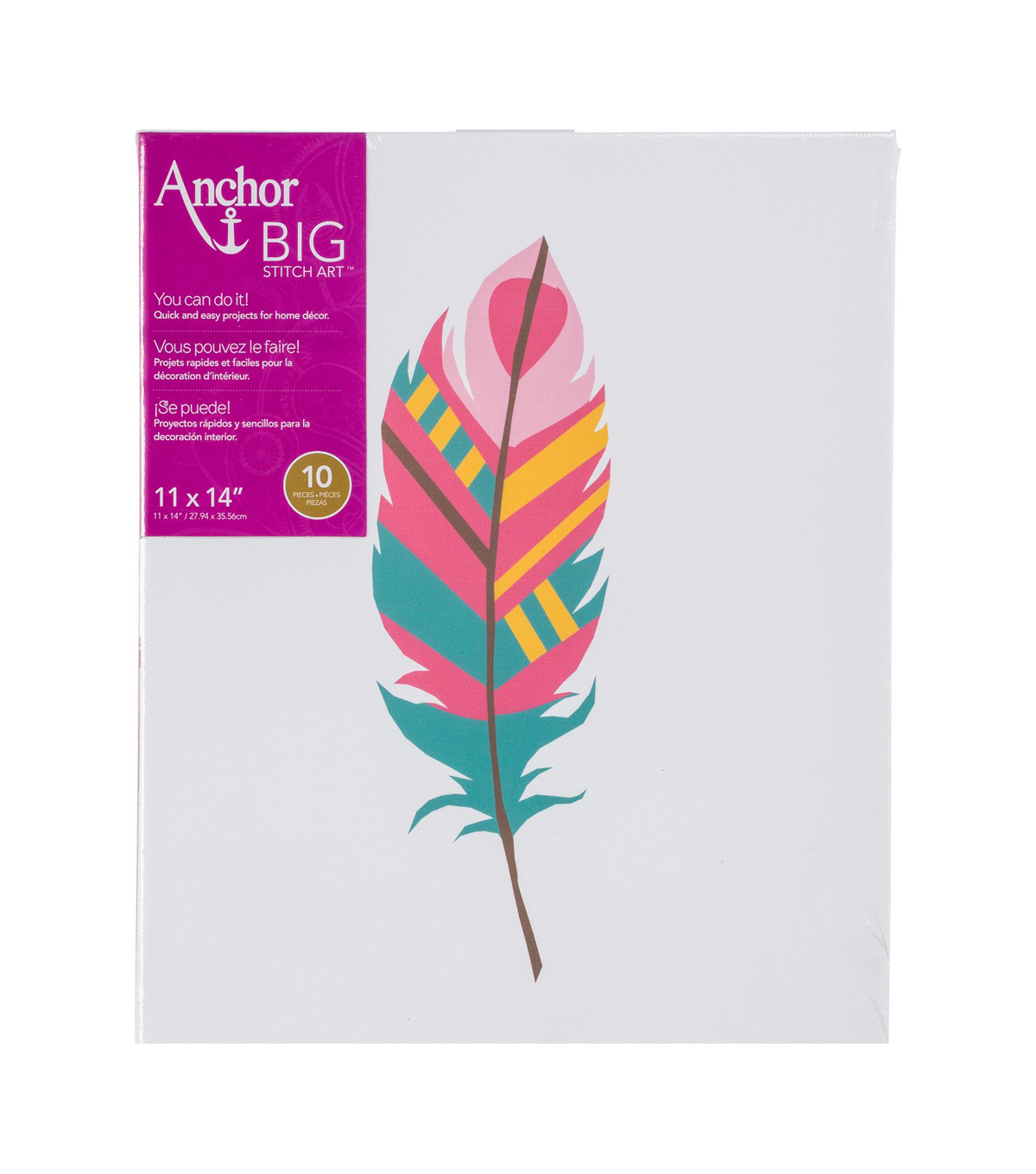 Anchor Big Stitch Art Stamped Embroidery Kit-Feather on Canvas