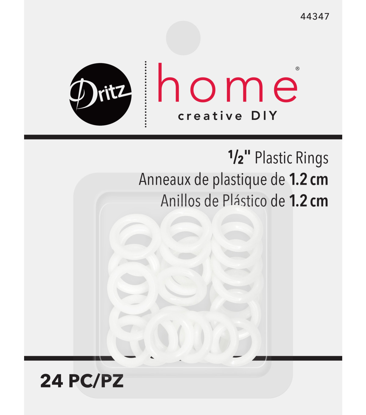 Dritz Plastic Rings 1/2\u0022 24Ct