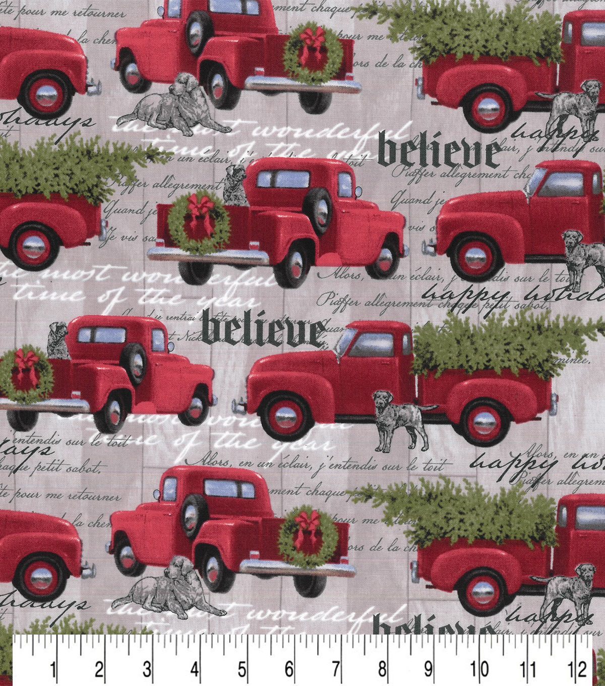 Christmas Cotton Fabric-Gray Hounds & Red Trucks