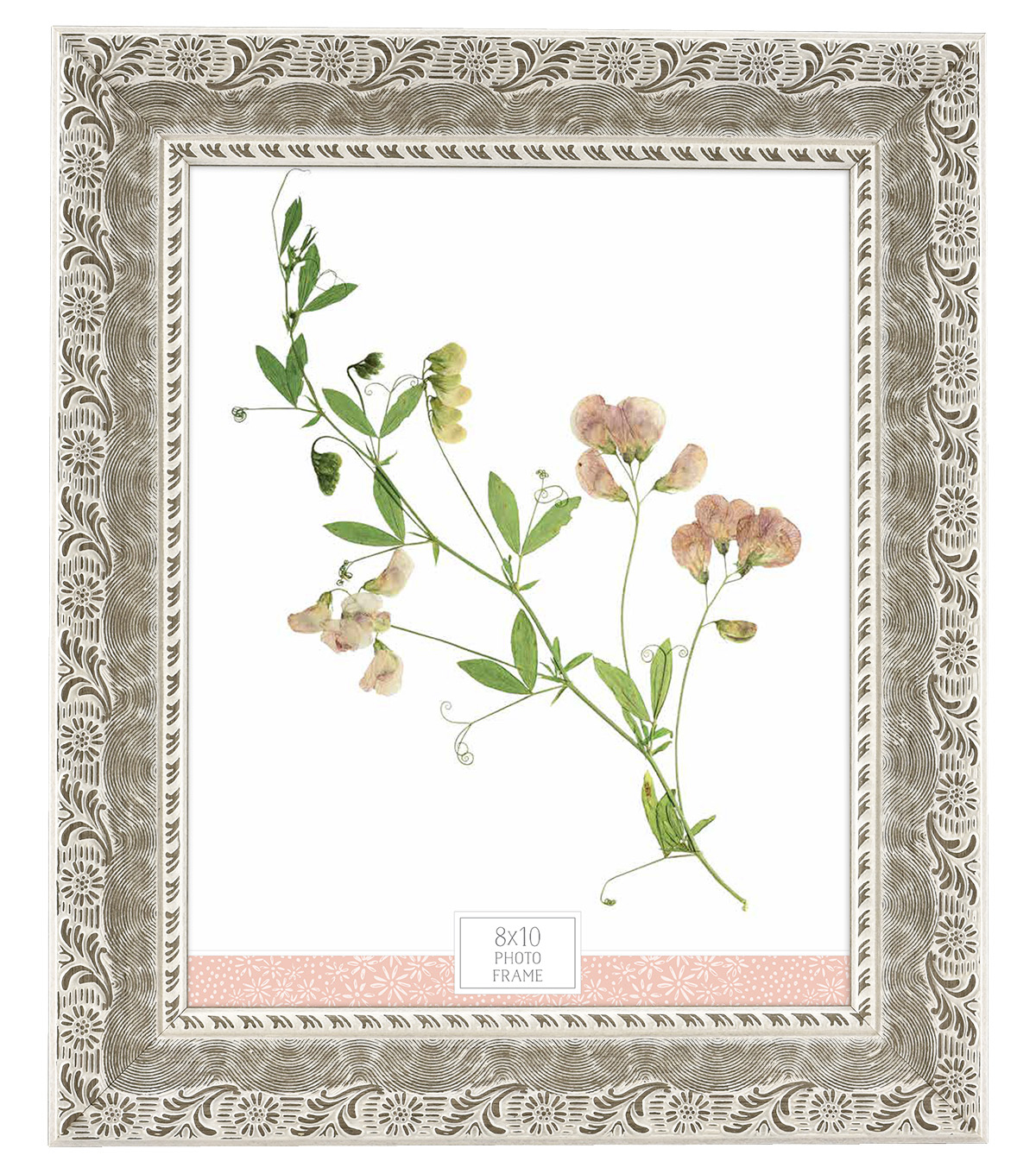 Plastic & Glass Picture Frame 8\u0027\u0027x10\u0027\u0027-Whitewash Daisy