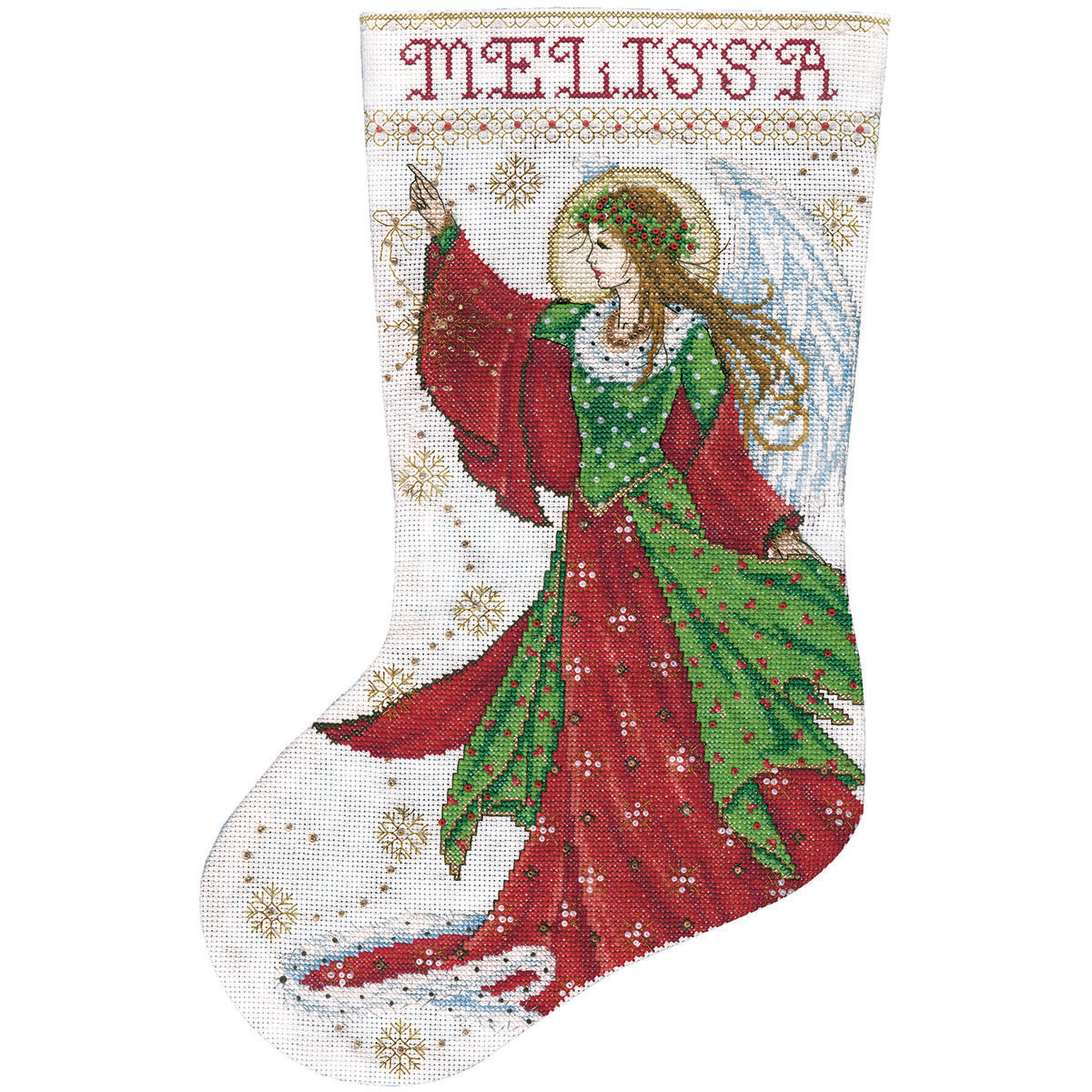 Angel Of Joy Stocking Counted Cross Stitch Kit-17\u0022 Long 14 Count