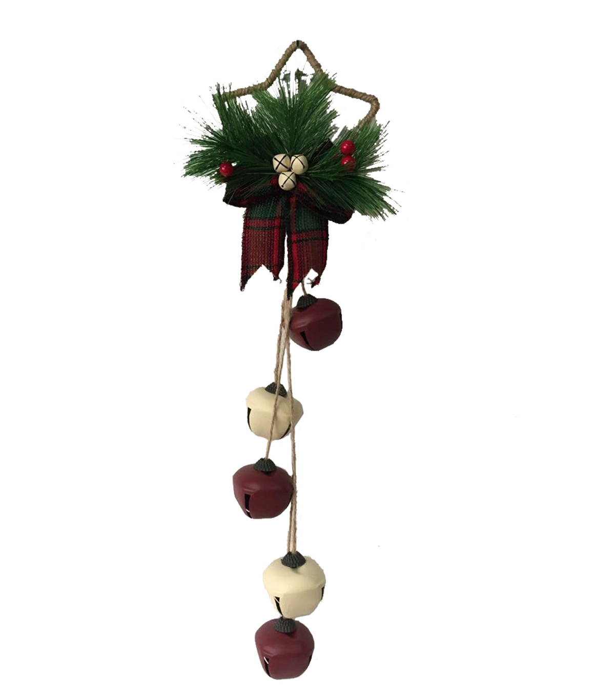 Maker\u0027s Holiday Star Shaped Rustic Jingle Bell Door Hanger