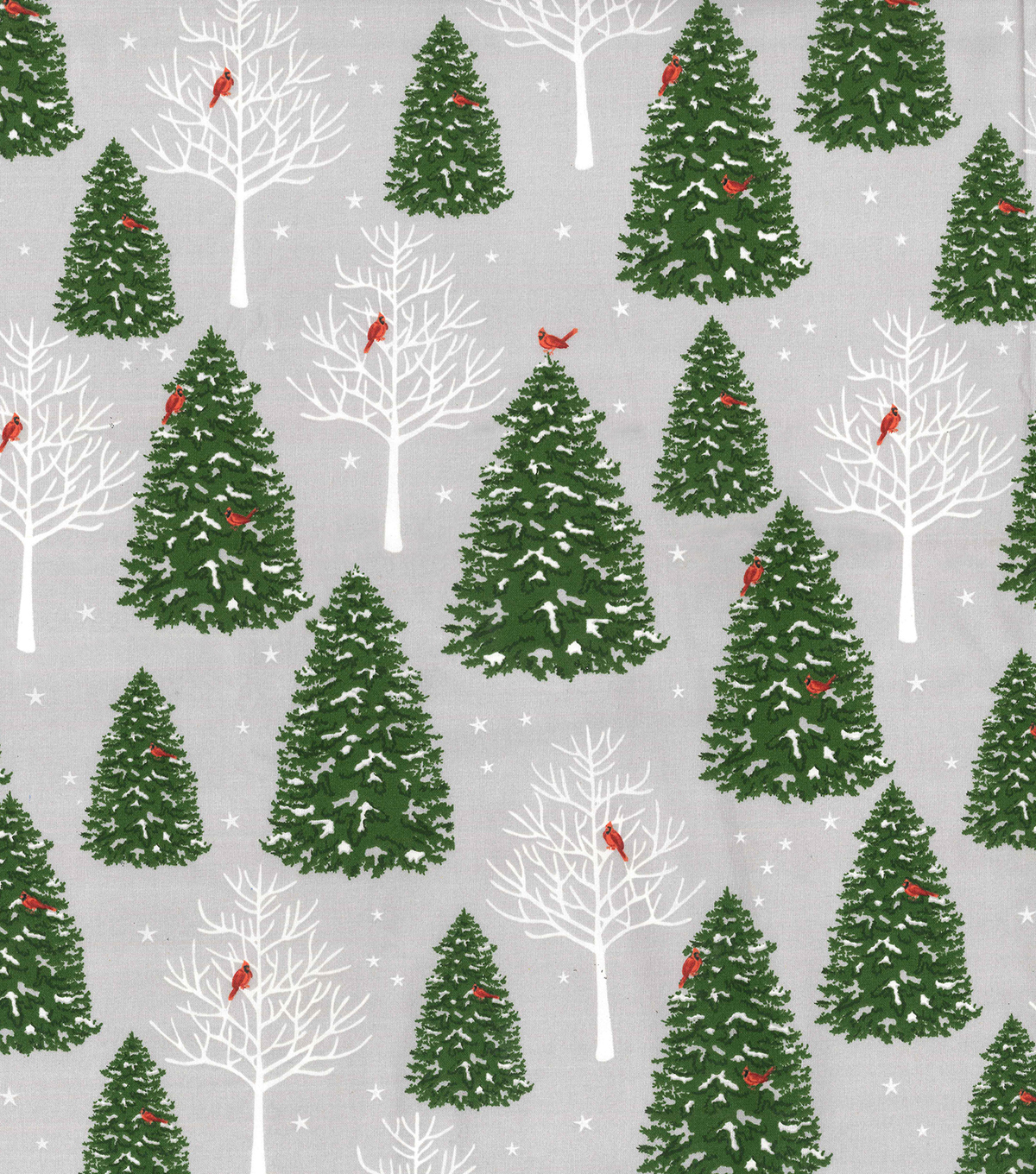 Christmas Cotton Fabric-Trees with Cardinals