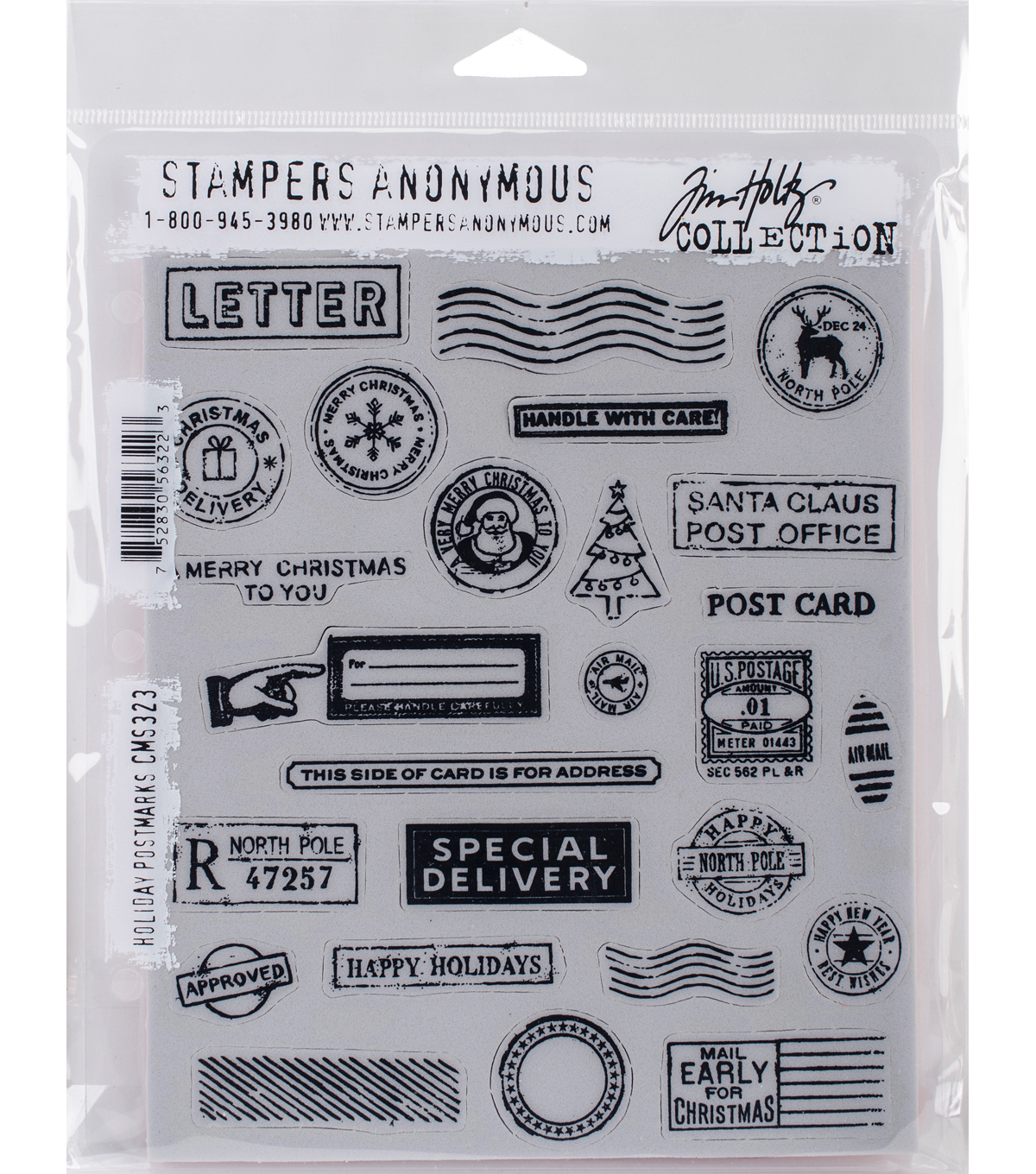 Stampers Anonymous Tim Holtz Cling Stamps-Holiday Postmarks