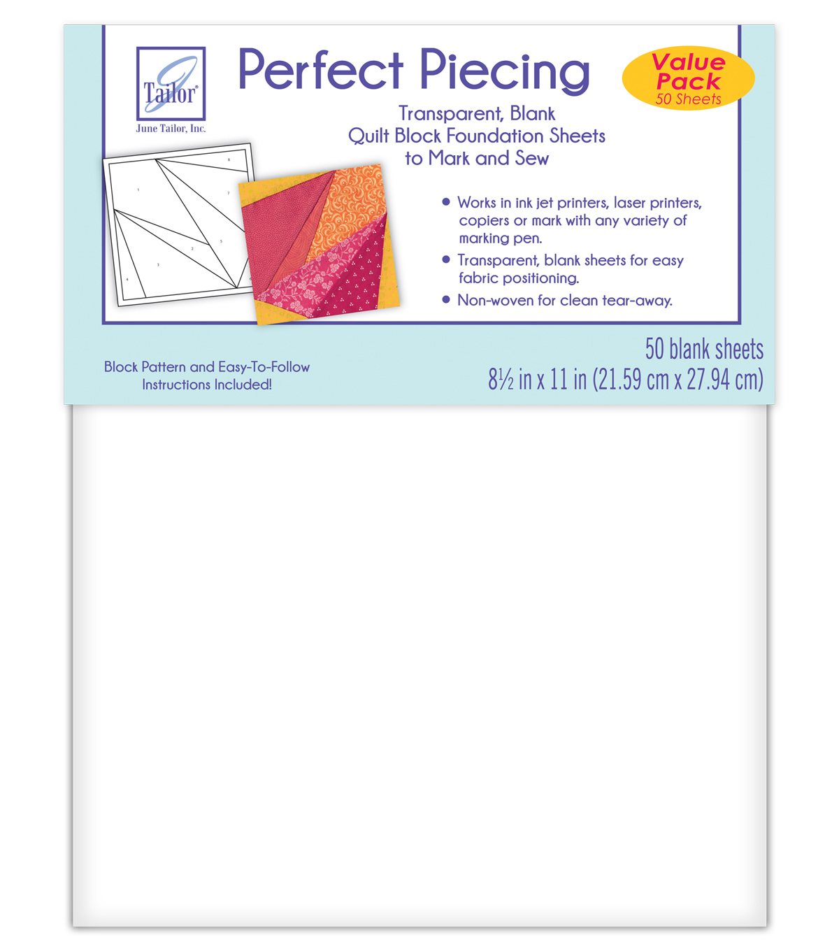 June Tailor Perfect Piecing Foundation Paper 50 Pc Value Pack