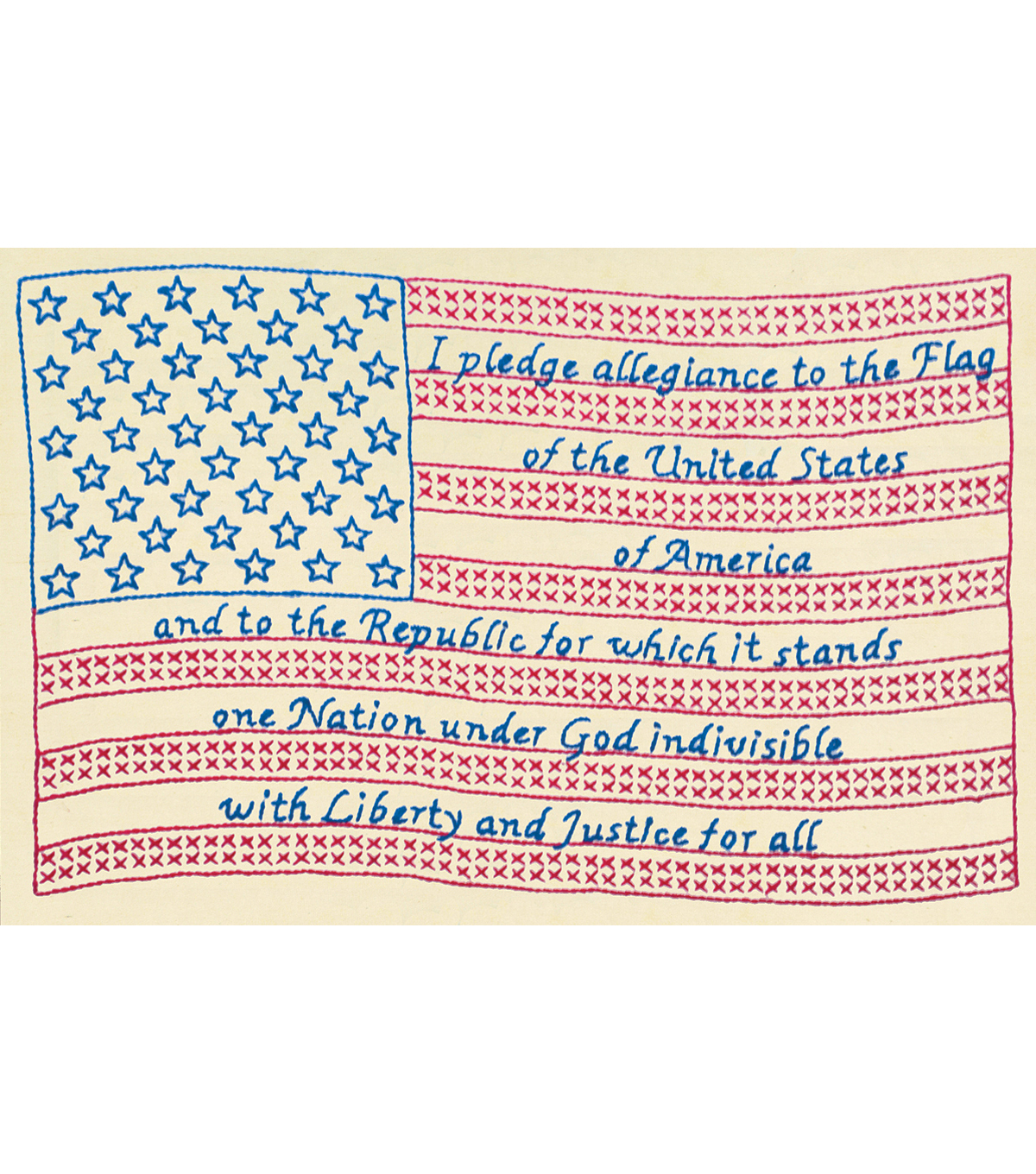 Jack Dempsey Stamped Antique Sampler Kit Pledge of Allegiance