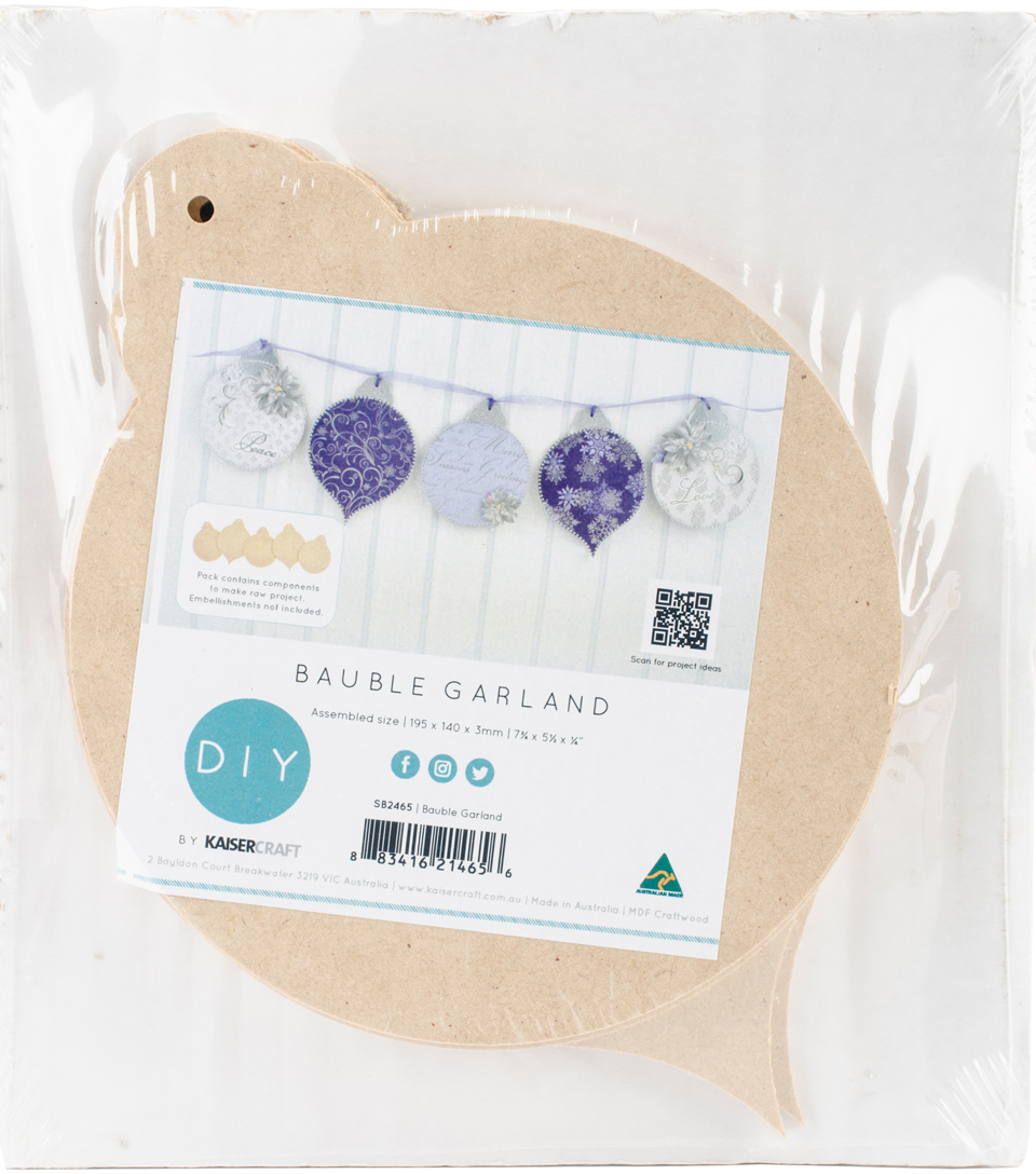 Kaisercraft Beyond The Page MDF 5 pk Craftwood Bauble Garland
