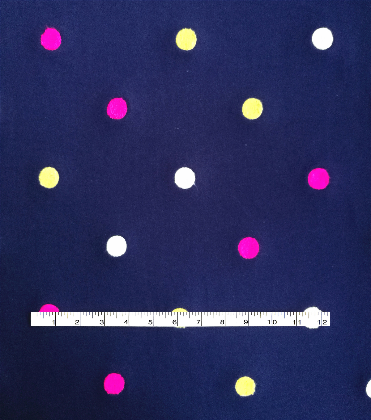 Doodles French Terry Fabric 62\u0022-Embroidered Dot Navy