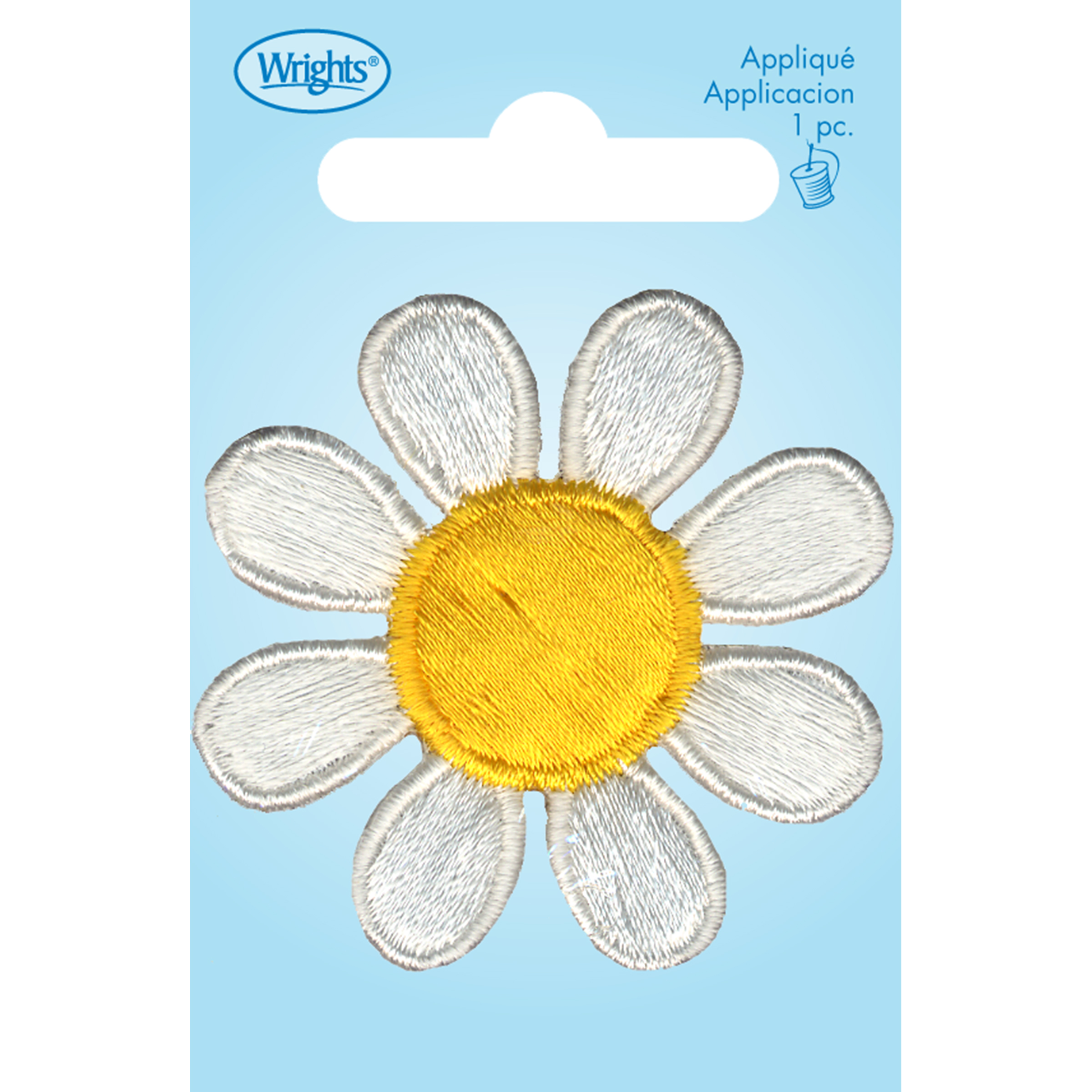 Wrights Iron-On Applique-White/Yellow Daisy