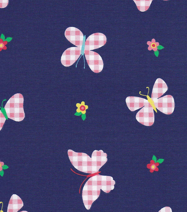 Doodles Collection Twill Fabric-Gingham Butterfly