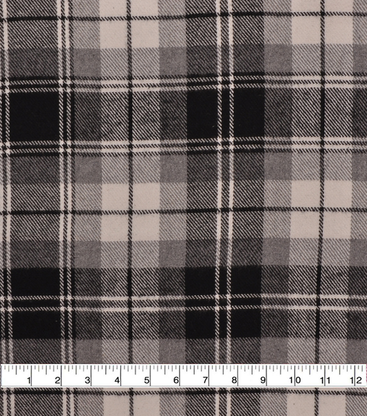 Plaiditudes Brushed Cotton Fabric-Ivory, Black & Grey Spaced Plaid