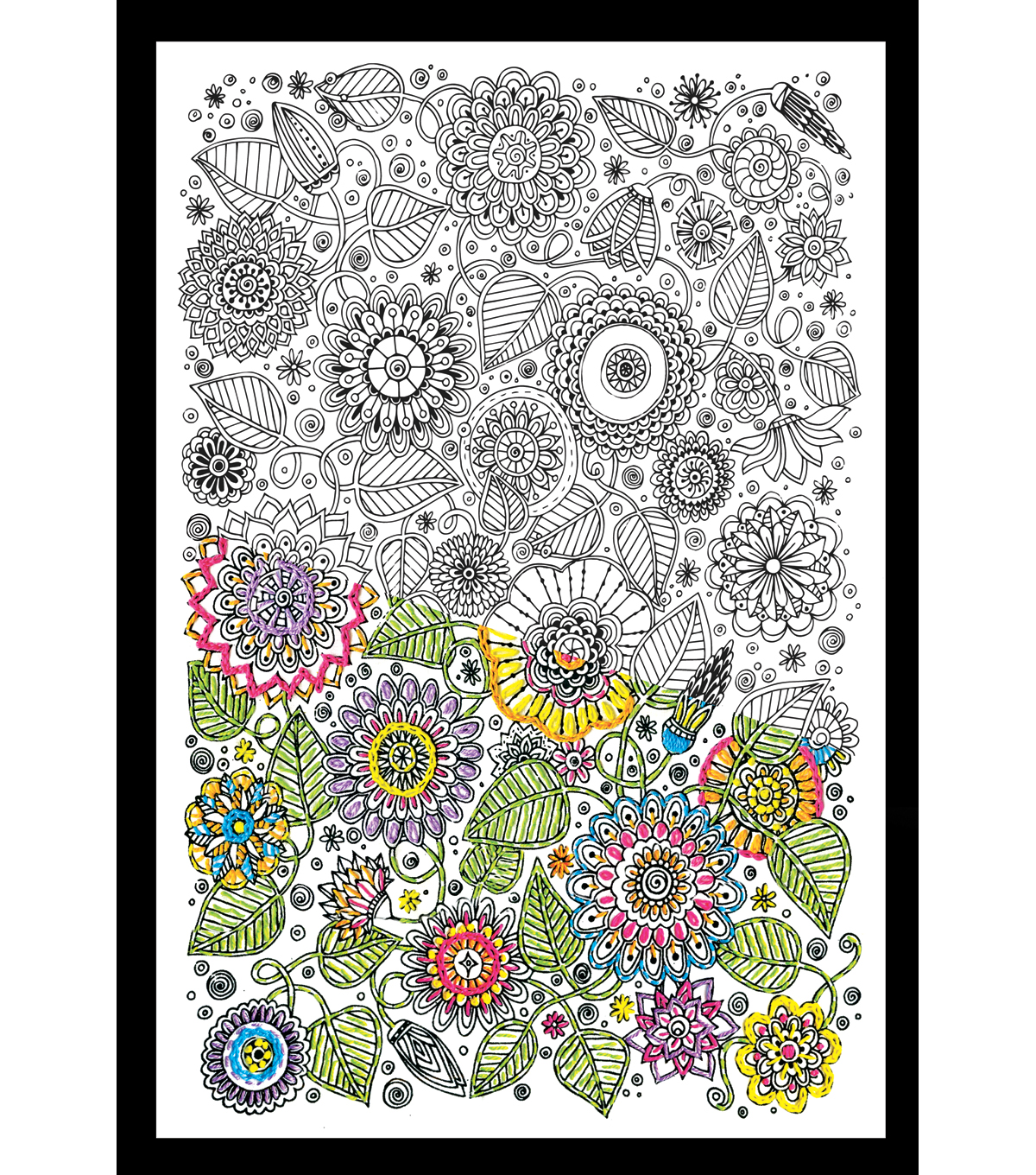 Design Works Zenbroidery Stamped Picture Kit-Large Floral