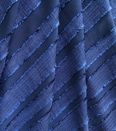 Silky Sheer Crepe Fabric 56\u0022-Navy Stripe