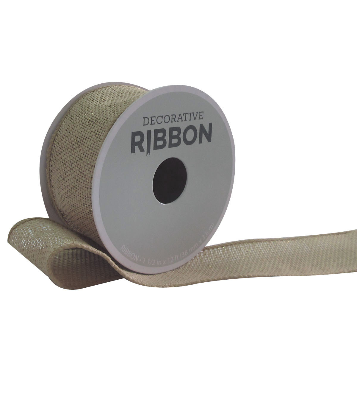 Decorative Ribbon 1.5\u0027\u0027x12\u0027 Natural Burlap-Gold Metallic