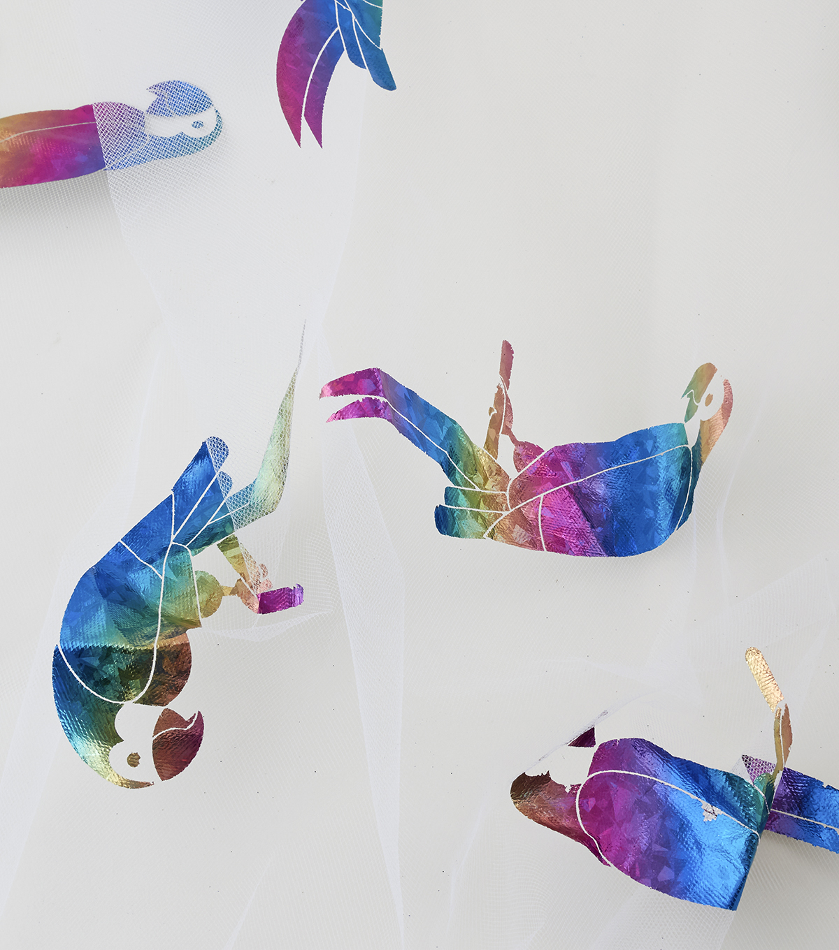 Tulle Fabric 57\u0027\u0027-Rainbow Foil Parrot on White